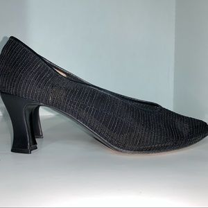 Prevata black mesh heels made in Italy